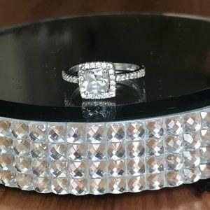 Sterling Silver Princess CZ halo ring